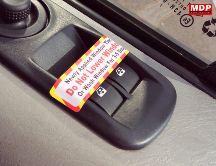 Window Tint Reminder Labels
